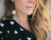 Pink Mink Earrings, Puff Earrings, Valentine's Day Gift, Drop Earrings, Threader Earrings