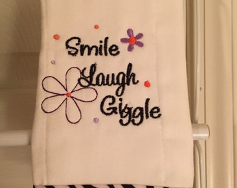 Smile, Laugh, Giggle Baby Burp Cloth, Diaper, Baby Gift