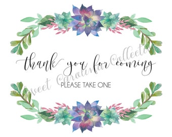 Thank You for Coming Wedding Favors DIY Printable Download / Wedding Guestbook Printable / Instant Download / 8x10 / P9