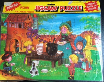 Vintage Sealed Jigsaw with Old Woman who Lived in a Shoe Design
