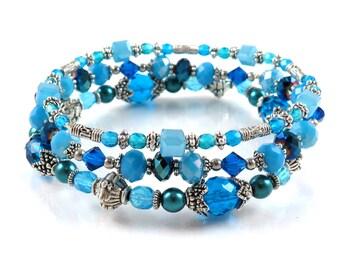 SALE - Bright Aqua and Blue Stackable Stretch Bracelets - Set of Three Stretch Bracelets - Ocean Blue Bracelets