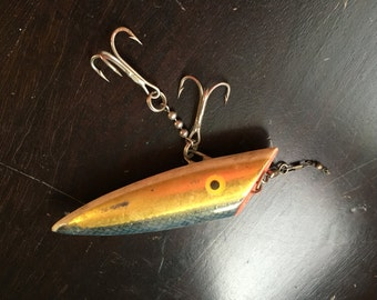 Fathers Day Gift Fishing Lure Vintage Antique Swiftsure Les Davis Salmon Gold Pearl Collectible Sporting Goods Fisherman Outdoorsman Sport