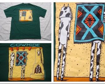 Vintage Retro Men's 90's Cow Hide Cow Cartoon Green Tshirt Silk Screen Short Sleeve Medium Made in the USA