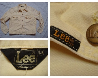 Vintage Retro Men's 80's Lee Denim Jacket Yellow Jean Jacket Made in the USA Large