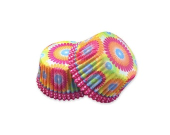 Rainbow Color Burst Cupcake Baking Liners, Greaseproof Paper, Baking Supplies, Cake Decorations, Party Supplies, 32 pcs