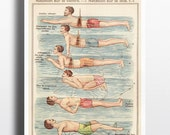 Antique Swimming Art Print Poster Vintage Poster French Swimmer Gift Wall Decor Swim Sport Gifts for Men