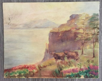 Original Western Art, Cattle Painting, Vintage Painted Canvas, Acrylic Painting, Signed by Artist, Western Landscape