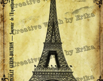 Vintage french Eiffel tower poster, digital printable download