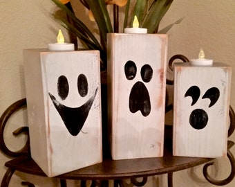 Fall Decor Halloween Ghost Candles - Wood Block Set of 3 Great Gift