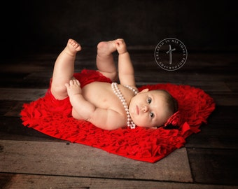 Red Ruffle Bloomer, Tutu, Couture, Diaper Cover, newborn photography prop