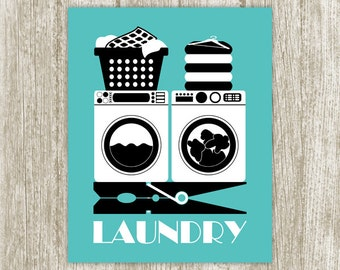 Teal Laundry Printable, Laundry Print, Clothespin Print, Laundry Wall Decor, Laundry Sign, Laundry Poster, Instant Download, Black White
