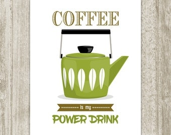 Coffee Printable, Funny Retro Coffee Print, Quote Print, Green Brown Kitchen Print, Cathrineholm Mid Century Kitchen Decor, Instant Download