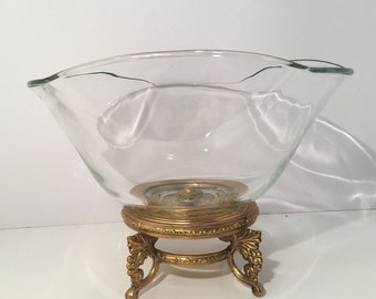 Ornate Brass Base With Glass Bowl