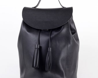 Black backpack drawstring with tassels / To order / Leather Backpack / Leather rucksack / Womens backpack / Christmas Gift / To order