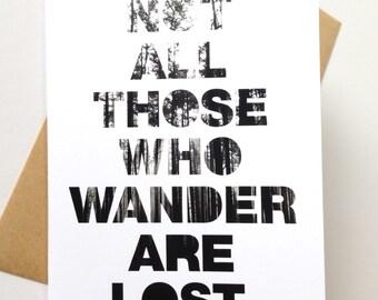 Tolkien Wander Lost greeting card