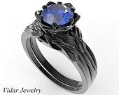 Unique Wedding Ring Set,Flower Engagement Ring Set,Black Gold Blue Sapphire Flower Bridal Ring Set,Black Gold Engagement Ring,Bridal Set