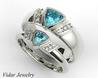 Aquamarine Matching Ring Set,His and Hers Aquamarine Wedding Bands,Aquamarine Ring,Trillion Ring Set,Aquamarine Matching Bands,Unique