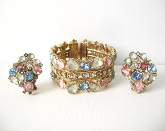 Vintage Hobe Bracelet And Matching Clip On Earrings With Pink Givre Glass Stones, Baby Blue, Frosted White and Crystal Rhinestones