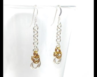 Sterling Silver Chainmaille Earrings - Byzantine Drop - Golden Honey