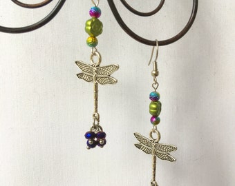 Dragonfly Beaded Dangle Earrings