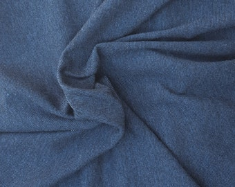 "Heather Indigo Cotton Blend Rib 1x1 Fabric by the Yard 58""W 9/16"