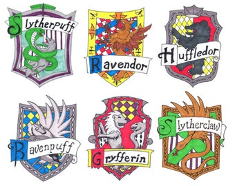 Hogwarts Hybrid House Crest Stickers