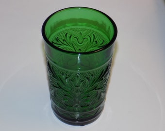 Vintage Green Glass Juice Glass
