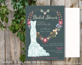 Floral Invitation // Floral Bridal Shower Invitation // Vintage Style Invitation // Printable or Digital File