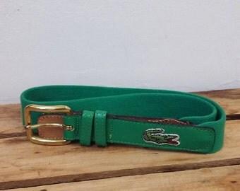 Vintage Green Lacoste Leather Belt size 28