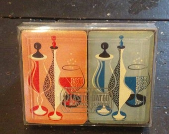 Mid Century Mod Design Playing Card Deck in Lucite Box Set