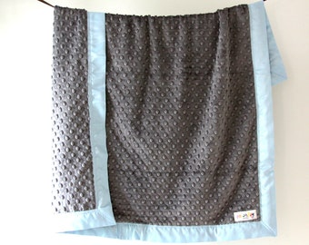 Baby Blanket, Charcoal Gray Minky Dot with Baby Blue Satin Trim