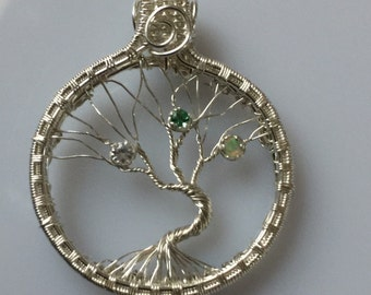 Sterling Silver Tree of Life Necklace with personalized birthstone gemstones, Wire Wrapped Jewelry Handmade, Family Tree Necklace
