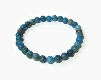 Blue Crazy Lace Agate 6mm Stretch Bead Bracelet