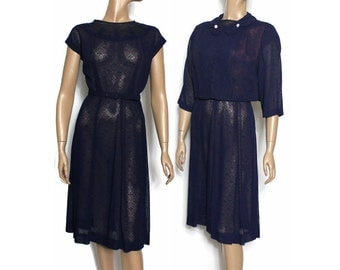 Vintage 1940s Dress Matching Bolero Jacket  Navy Blue Lace Rhinestones