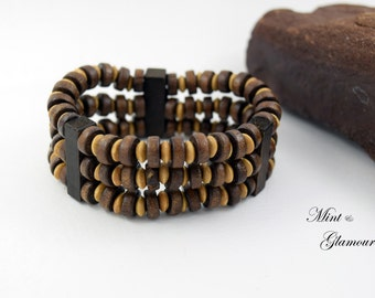 Beaded wood bracelet,Wooden stack bracelet,Wood accessories,wood gift,Wooden beads,Gifts for him,Mens accessories