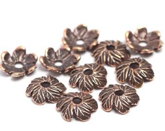 Antique bronze bead caps set, 10 pieces 3121(10). Leaves, leaf, bud, flower, petal, green, grass, forest, nature bead, caps, set