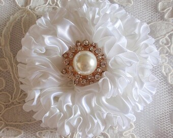Handmade Ribbon Flower With Pearls Rhinestone (3.5 inches) In White MY-445-05 Ready To Ship