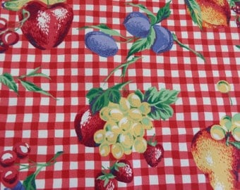 Fruit Fabric Vintage Checkered Classic Fruit Fabric 1980's