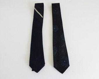 Silk Neckties Set of 2 Vintage Wedding Neckties, Bencraft Neckties 1950's
