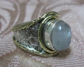 Rainbow Moonstone Sterling Silver & Brass Ring Size 9 1/4