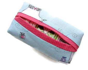 Girls Women's, Boxy Tissue Holder, Baby Blue and Dark Pink, Novelty Fabric
