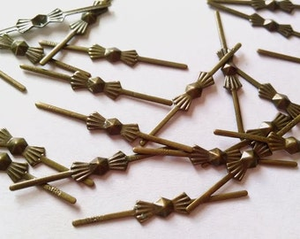 300pc 33mm Antique Bronze Tone Bowtie Chandelier Pins Crystal Connectors Pack of 300 FREE SHIPPING USA