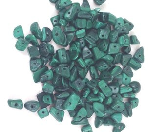 Malachite Chip Beads, Green, Size: about 5~9mm, Gemstone, Nuggets, 130pcs