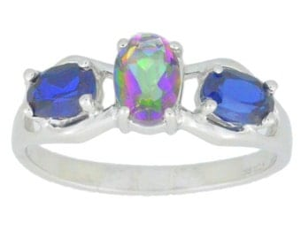 Blue Sapphire & Mystic Topaz Oval Ring .925 Sterling Silver