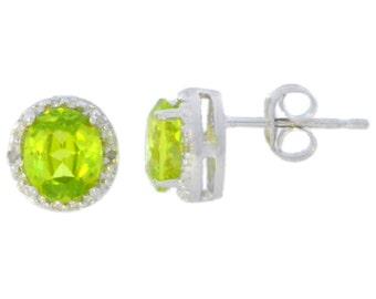 Peridot & Diamond Round Stud Earrings .925 Sterling Silver