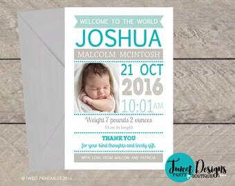 BIRTH ANNOUNCEMENT BOY, Baby Boy Thank you Card, Printable Baby Announcement, Boy Birth Announcement, Baby Boy Thank you Card, Photo Card