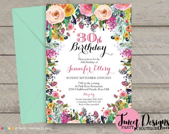 WATERCOLOR FLOWERS 30TH Birthday Invitation, Adult Invitation, Watercolor Flowers Invitation, Adult Invitations, 30th Invitation, High Tea