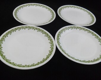 Vintage Corelle Dinnerware * Spring Blossom Green  * Set of 4 Dinner Plates * Crazy Daisy * Pyrex Compatible