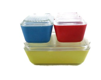 Primary Colors Pyrex * Complete 4 Piece Refrigerator Spacesaver Set