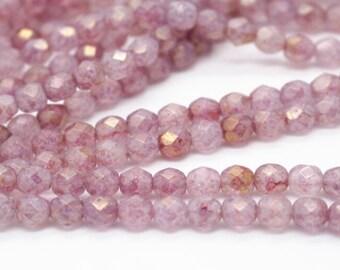 25 pcs strand of Czech glass polished beads-6mm-9017-Luster Stone Pink